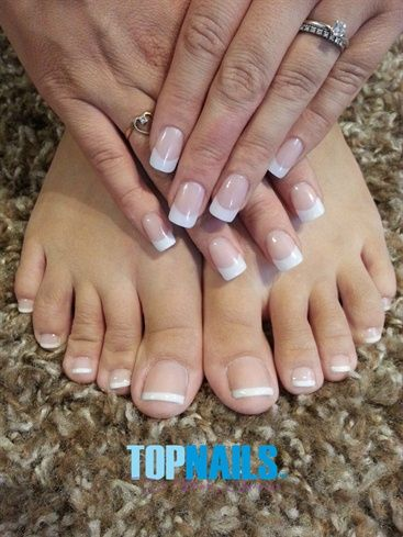 French Acrylic Nails Hands Feet By Topnailschile Nails