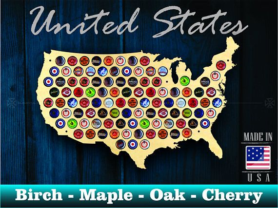 United States Beer Cap Map USA   Unique Christmas Gift   Beer Cap     Estados Unidos cerveza tapa mapa USA regalo de Navidad     nico