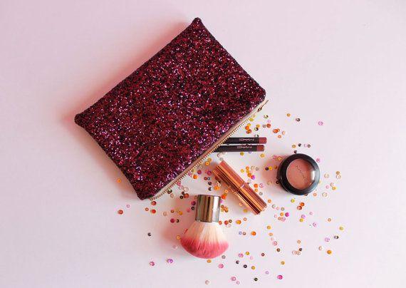 Deep Plum Glitter Makeup Bag Pink and Black by SukiSaburDesigns