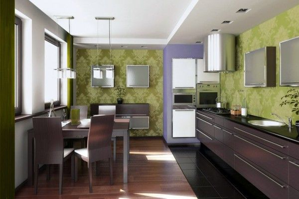 Green and brown kitchen design with wood dining set Kitchen