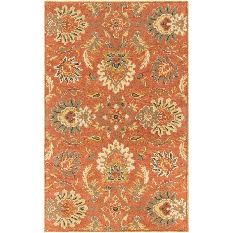 Aaron Floral Handmade Tufted Wool Burnt Orange Area Rug In 2020
