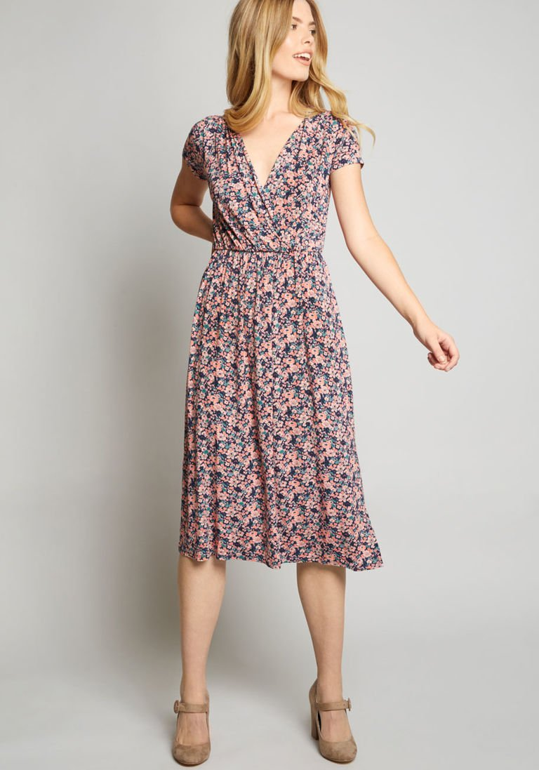 f1a71c2ad25 Easily Adored Knit Dress in M - Short Sleeve A-line Midi by ModCloth ...