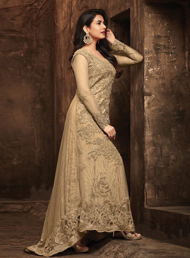 2eac7022a1 Buy Sonal Chauhan Beige Net Long Anarkali Suit 139494 online at lowest  price from huge collection of salwar kameez at Indianclothstore.com.