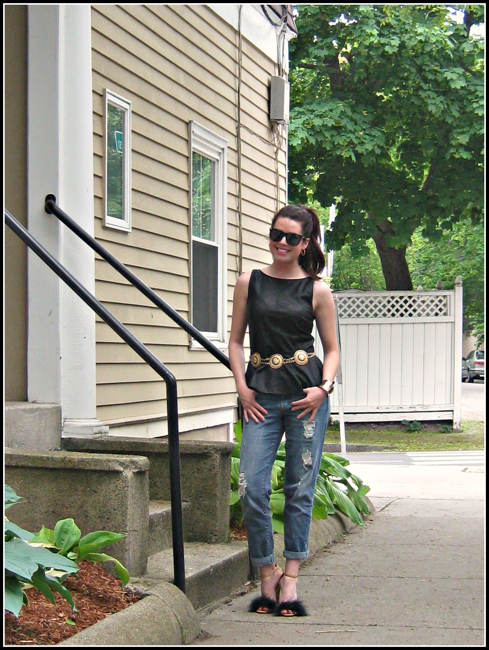 #Boyfriendjeans , vintage belt, faux fur shoes, leather #peplum #ASOS #Zara #blogger #ootd #lookbook http://thefabulouslifeofanaturaldisaster.com/2013/05/20/ootd-all-about-the-shoes/