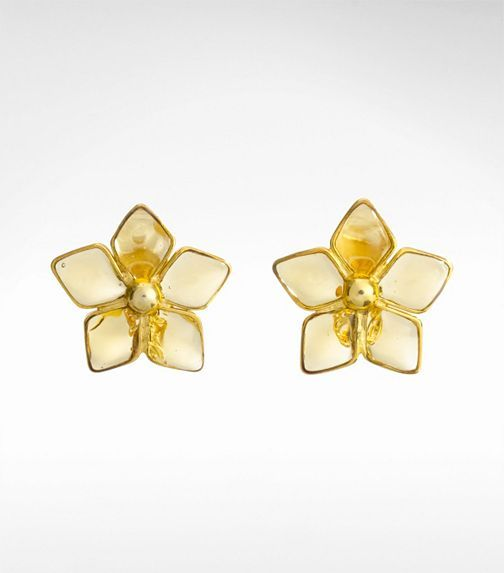 Love these Tory Burch floral earrings Love the smokey poured glass