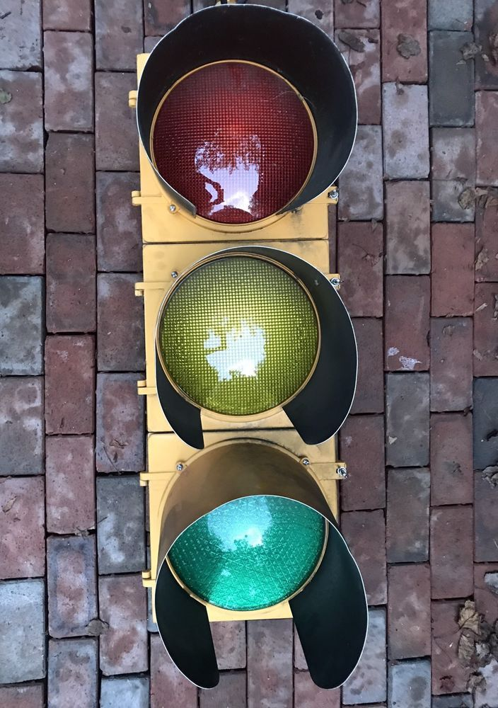 Retired Aluminum 12 Traffic Signal Red Stop Light W Leds Hoods Visors 2 Stop Light Traffic Signal Light