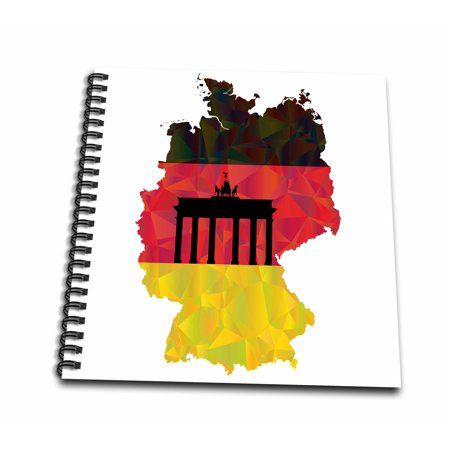 3drose German Germany Flag With Brandenburg Gate Memory Book 12 By 12 Inch Germany Flag Brandenburg Gate Memory Books