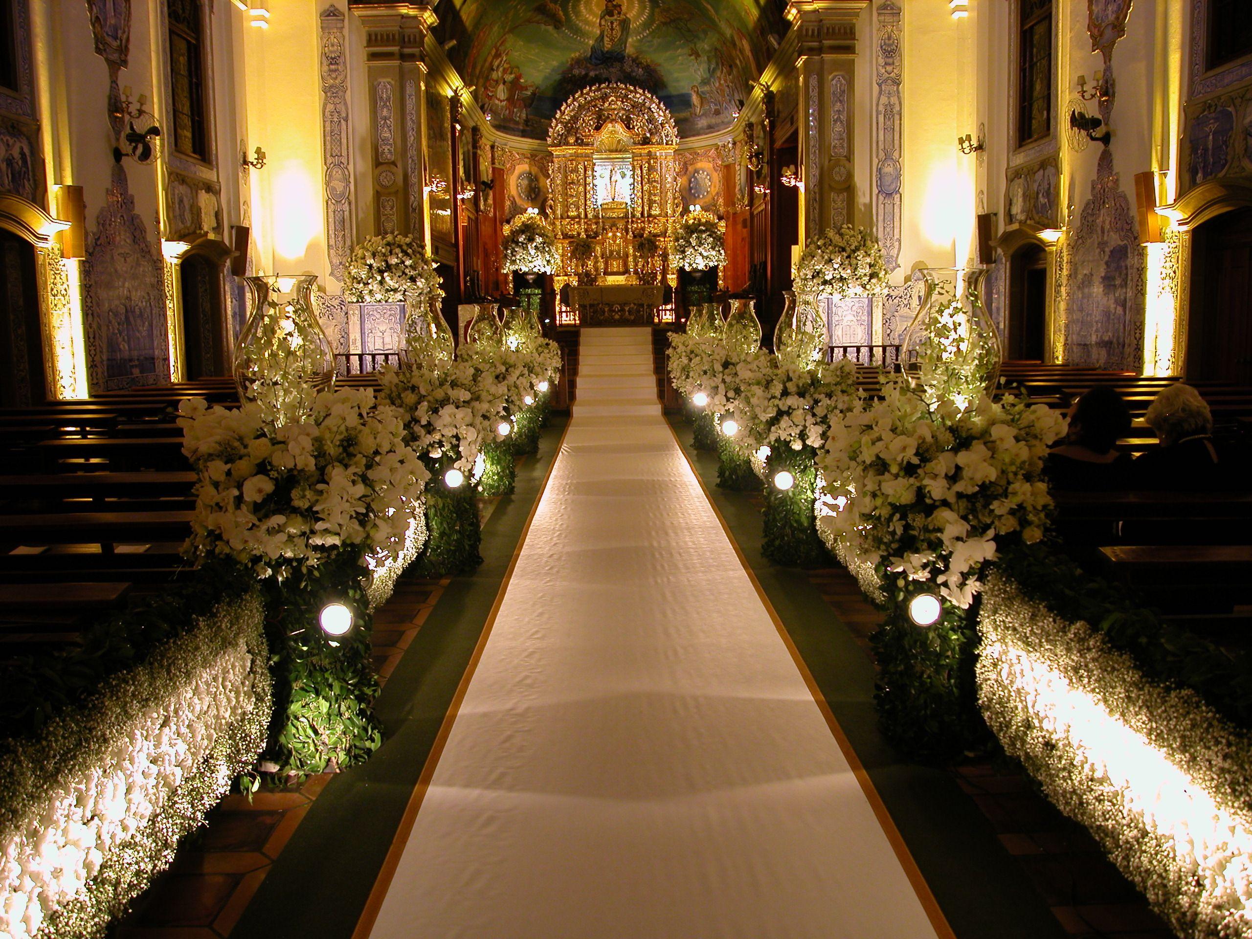 Decoraç u00e3o de casamento na Igreja Nossa Senhora do Brasil wedding inspirations Pinterest  -> Fotos Decoração De Igreja Para Casamento Simples