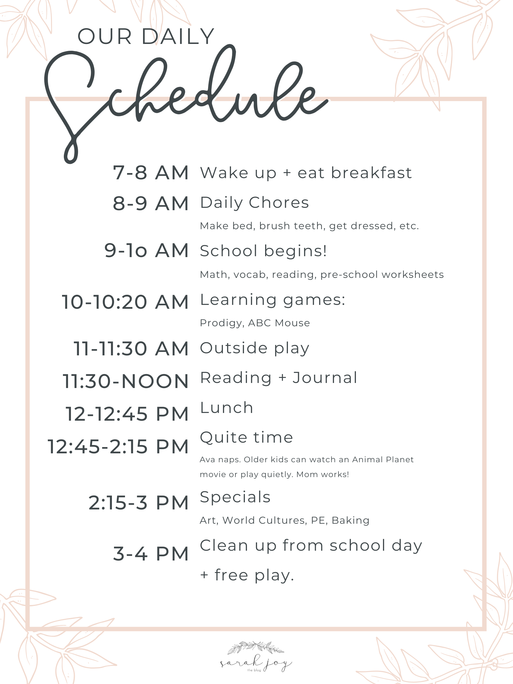Our New Daily Schedule + Activity Ideas for Kids