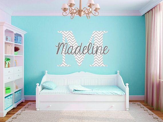 Personalized Houndstooth Pattern Print Name Monogram Girls Boys - Coral monogram wall decal