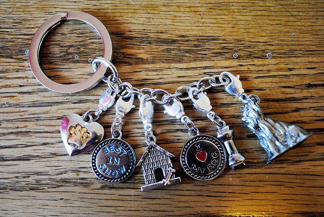 Stitch Markers on a charme bracelet or keychain.  A great way to keep track of them:  7 Stitch Markers by Selena K, via Flickr
