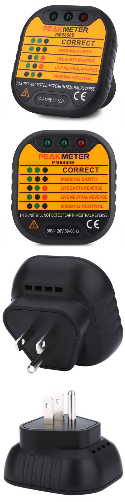 PEAKMETER PM6860B US Plug 90V - 120V Socket Tester