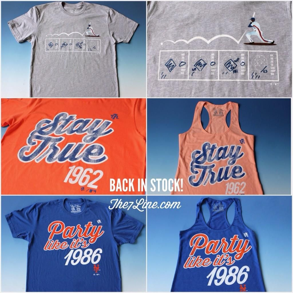 They're back! All sizes now in stock. Act fast! http://The7Line.com #Mets #StayTrue #PartyLikeIts1986 #Game6