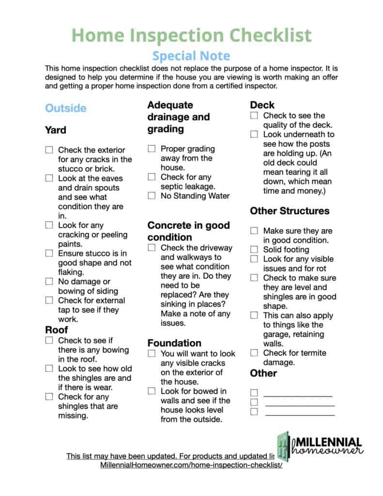Diy Home Inspection Checklist For Buyers Free Printable April 2021 Millennial Homeowner In 2021 Inspection Checklist Home Inspection House Checklist