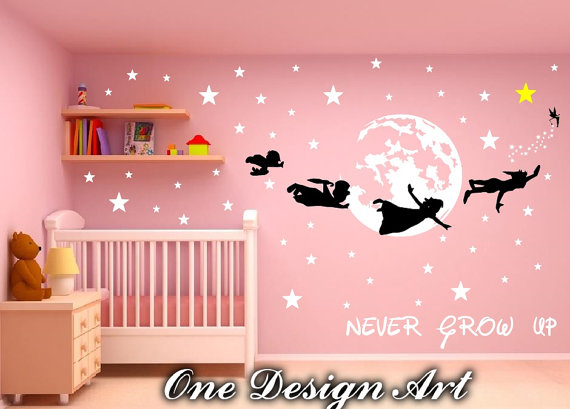 Peter Pan and Crew Never Grow Up wall decals mural by OneDesignArt ...