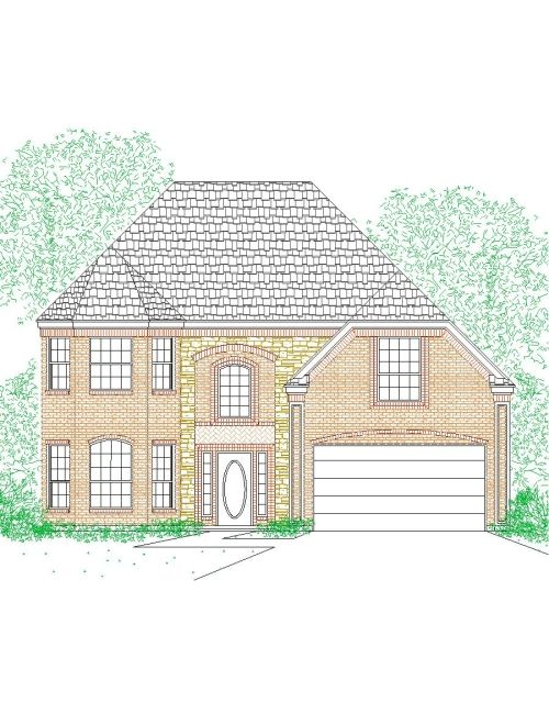 House Plan 2224 207 Hs Traditional Stone Front Elevation 2224