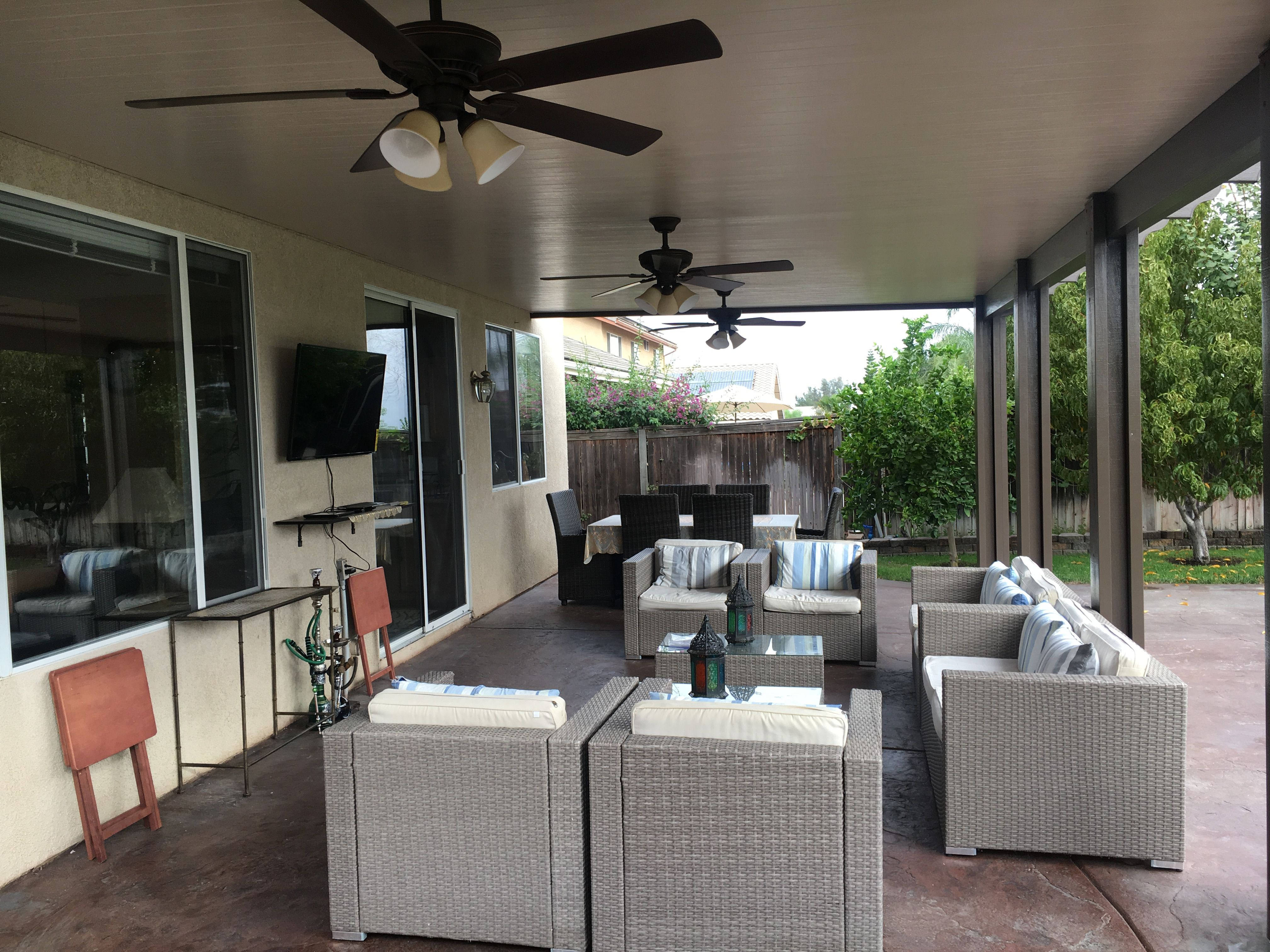Alumawood Patio Cover Solid Top Three Ceiling Fans Electrical