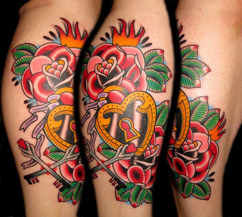 Pics photos heart lock flowers n key tattoo design - Rose And Heart Tattoo Design Ideas Rose And Heart Tattoo Design Ideas