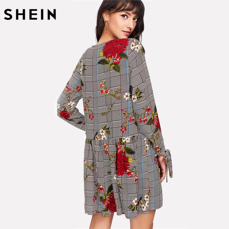 7f844cd9b6 SHEIN Women Vacacion Dresses Multicolor Long Sleeve Ruffle Hem A Line Dress  Tie Cuff Floral and