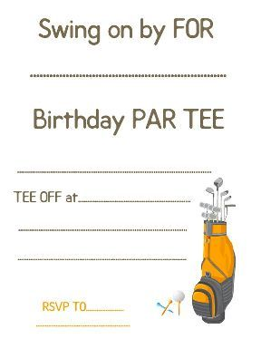 Golf Theme Birthday Invite