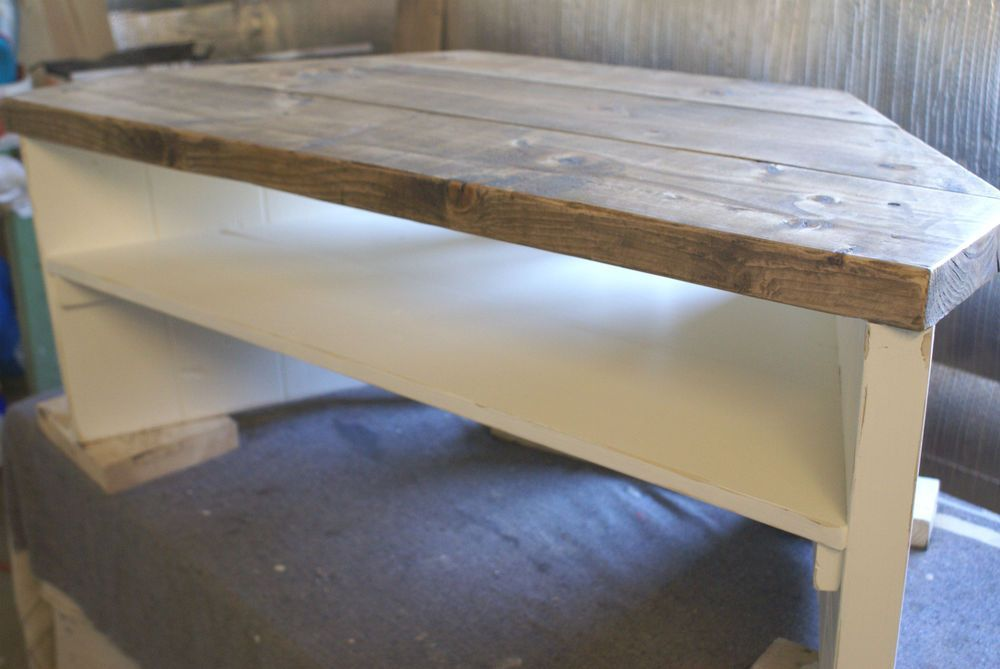Corner Tv Stand Shabby Chic Rustic Hand Painted Solid Wood Pine