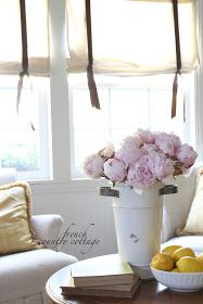 DIY drop cloth shades~ tutorial is part of Home Accents DIY Shades - Inspired and romantic living, entertaining, traveling and decorating in a French Country Cottage in the California countryside