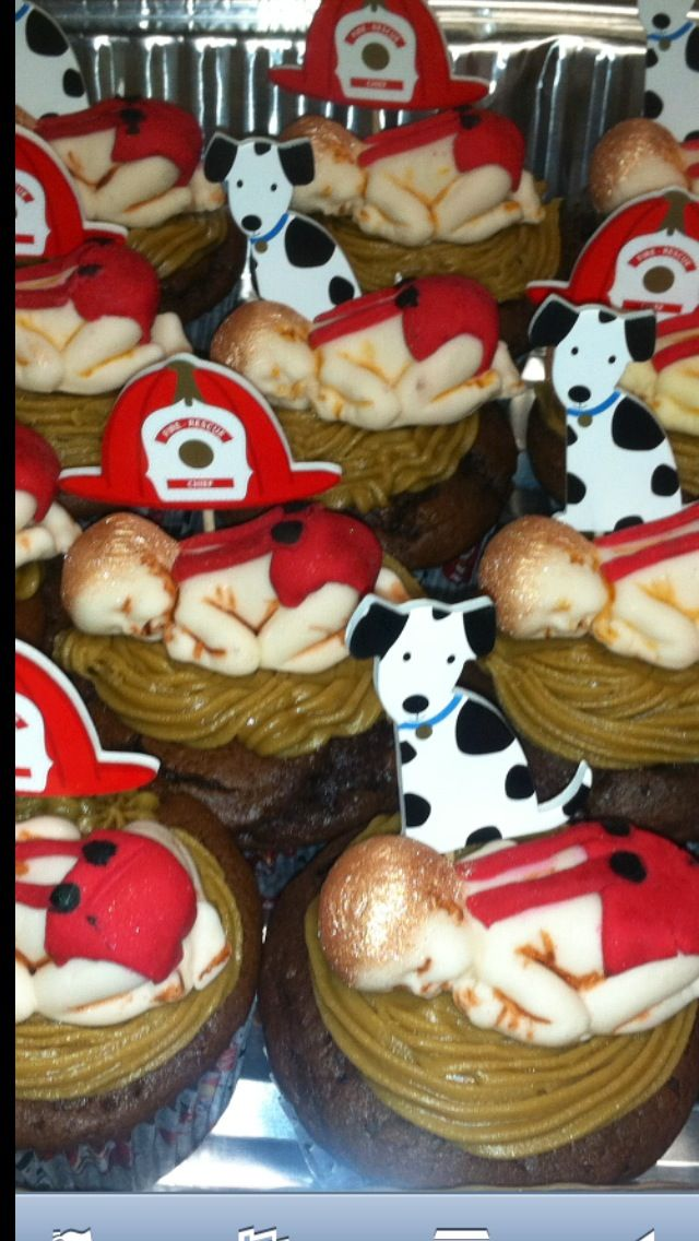 Firefighter Theme Baby Shower Cupcakes Fondant Firefighter Babies
