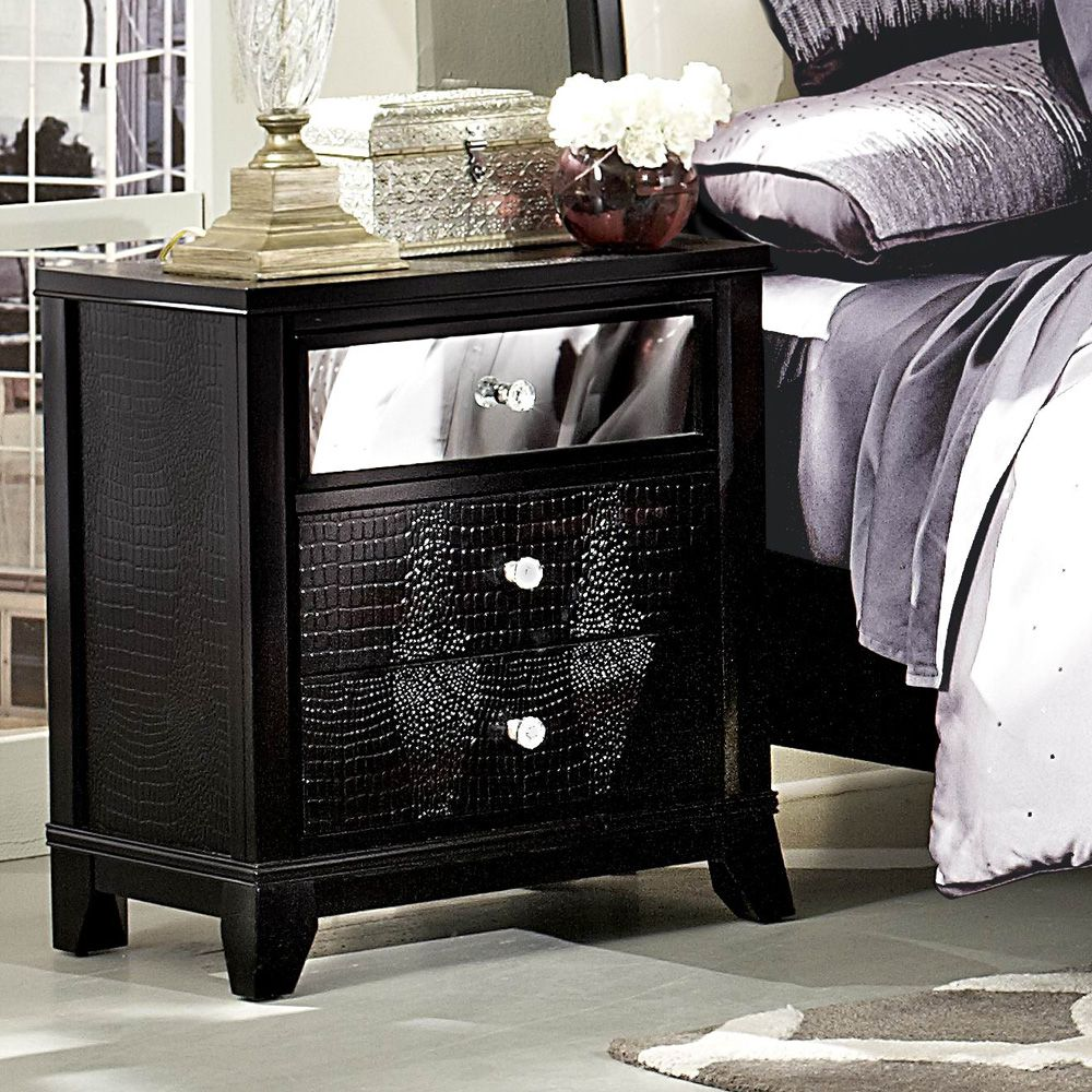 Best Homelegance Jacqueline Mirrored Drawer Front Nightstand In 400 x 300