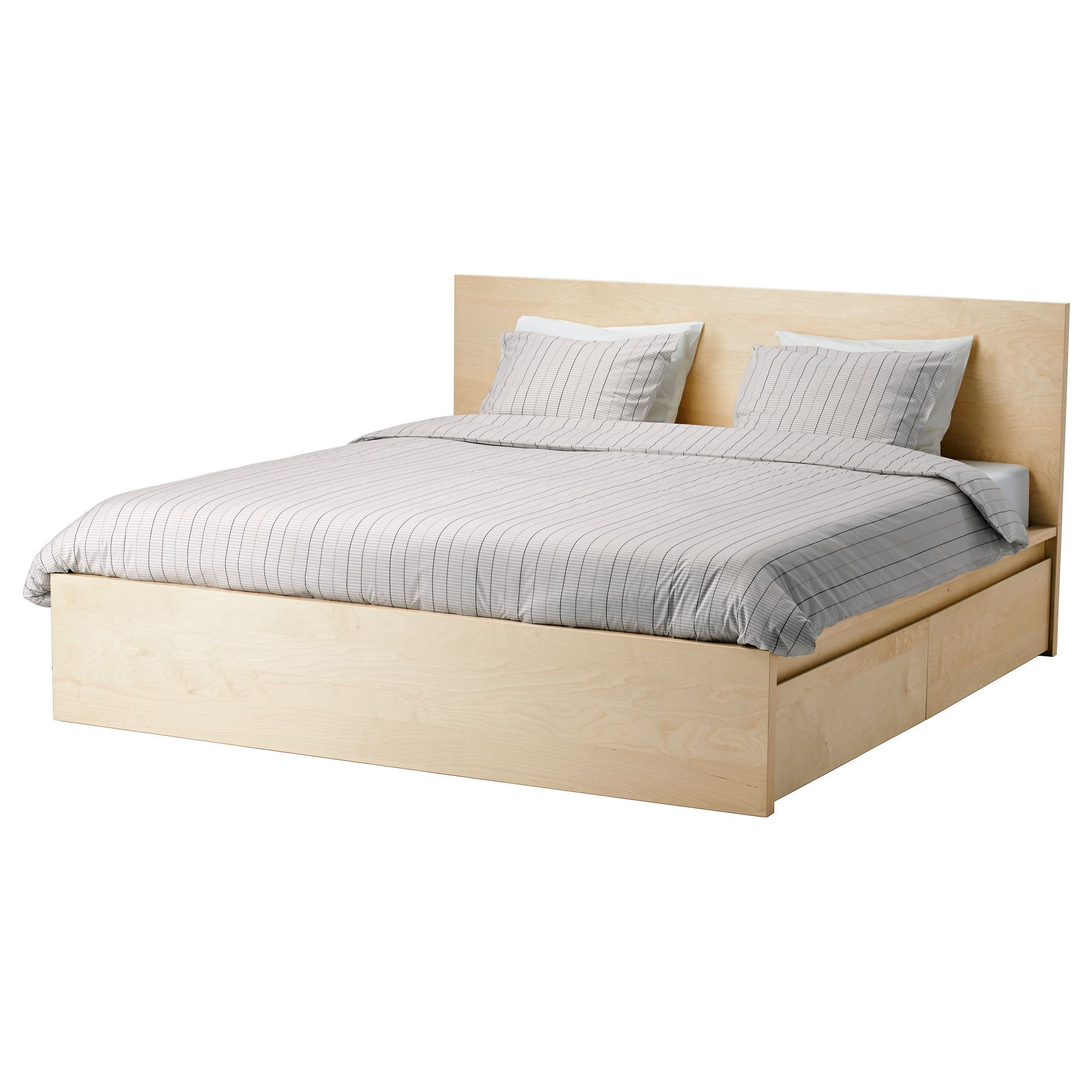MALM High bed frame 4 storage boxes Queen Luröy IKEA