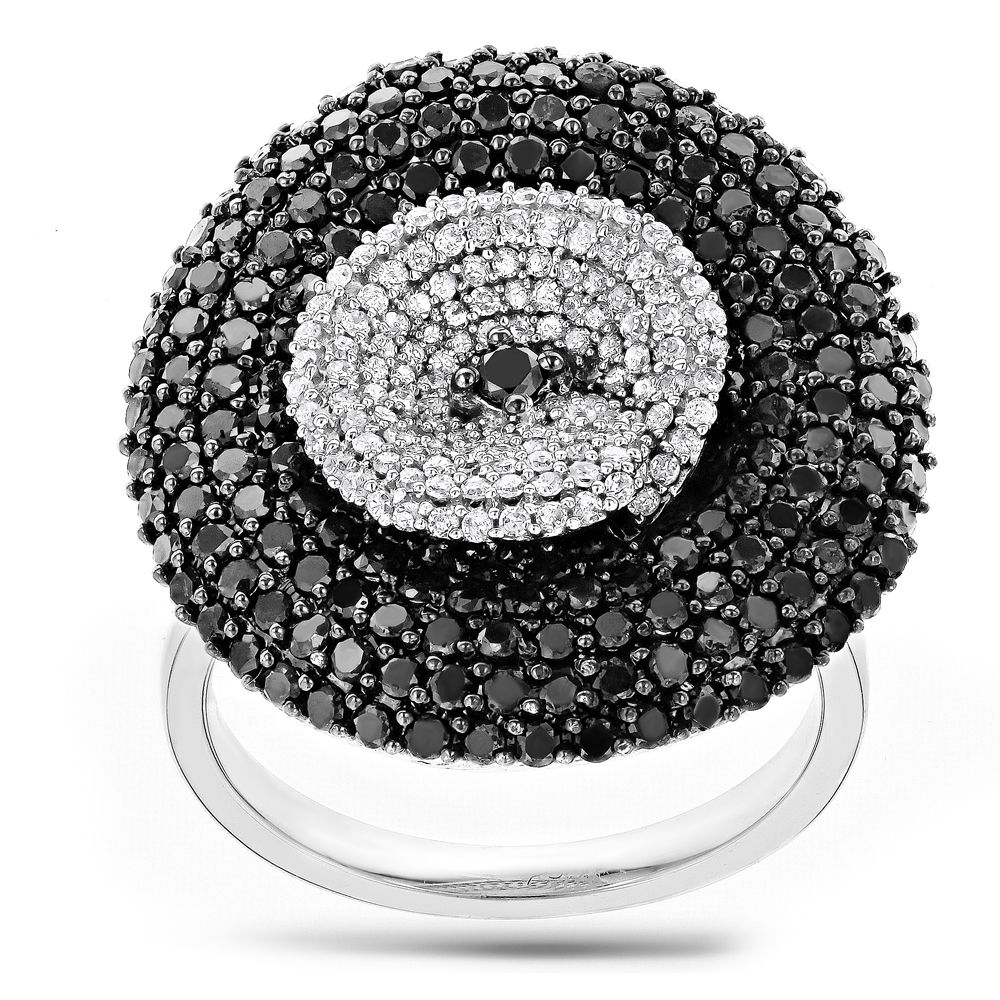 Ladies Black Diamond Ring 2.53ct 14K Gold