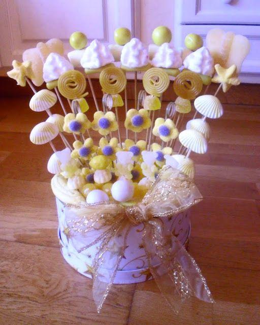 Un goloso centro de mesa candies hecho con chuches - Centros de mesa de chuches ...