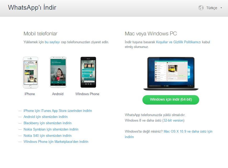 Кнопка скачивания Whatsapp на компьютер  с сайта whatsapp.com