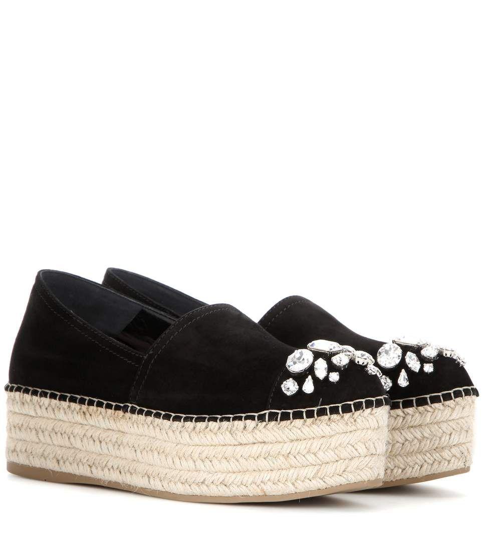 17b011eb7bb6 MIU MIU Embellished Suede Platform Espadrilles.  miumiu  shoes  flats
