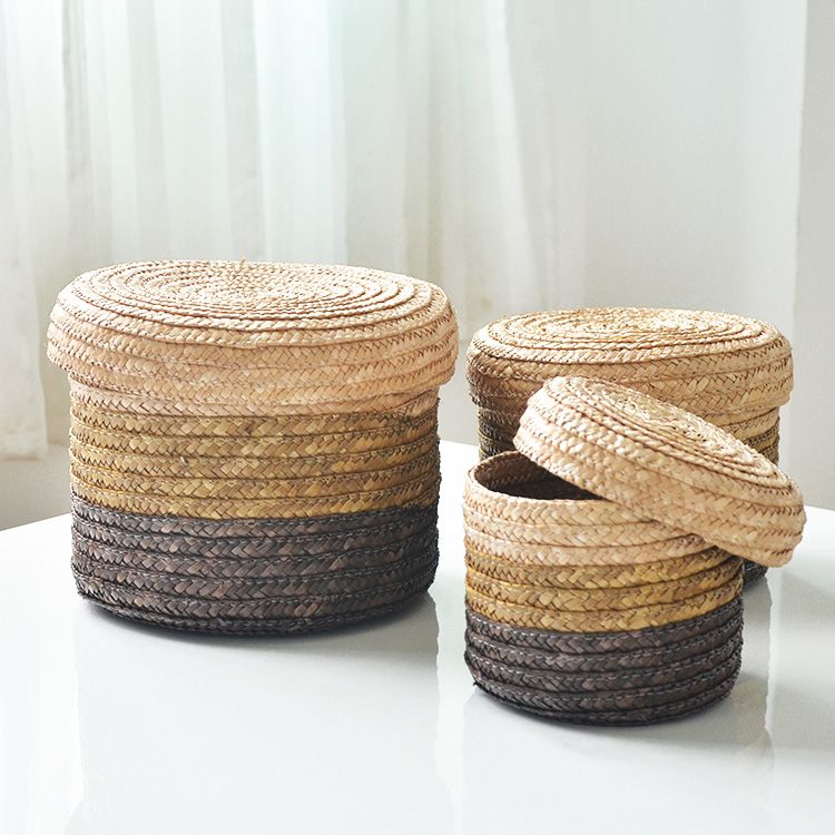 Charming Natural Straw Braid Circle Storage Basket Bucket Desktop Storage Box Set Of  Three Pieces Storage Basket