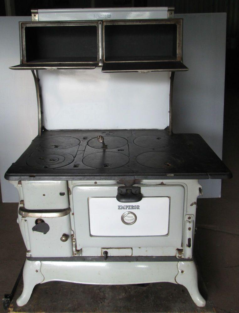 Antique kalamazoo emperor stove enamel iron -wood / coal - Antique Kalamazoo Emperor Stove Enamel Iron -wood / Coal Stove