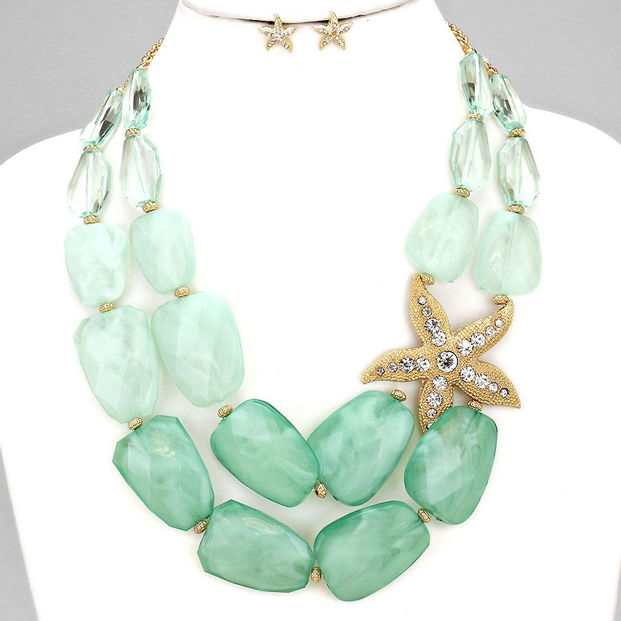 Starfish accented nugget bead statement necklace statementnecklace