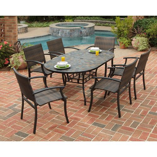 Stone Harbor 60 Inch Dining Table W/ Six Newport Arm Chairs Home Styles Furniture Dining, $1965 | Oval Table Dining, Patio Dining Set, Outdoor Dining Table