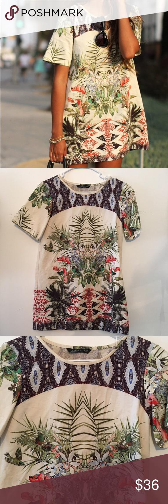 Zara botanical jungle palm print shift dress Zara print Palm ...
