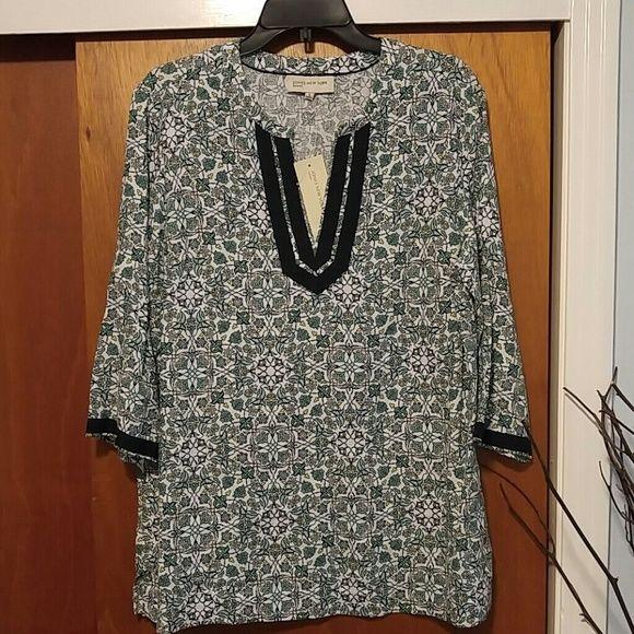 NWT-Jones New York Linen Tunic Pretty Multi color/flower 100% Linen Tunic Jones New York Tops Tunics