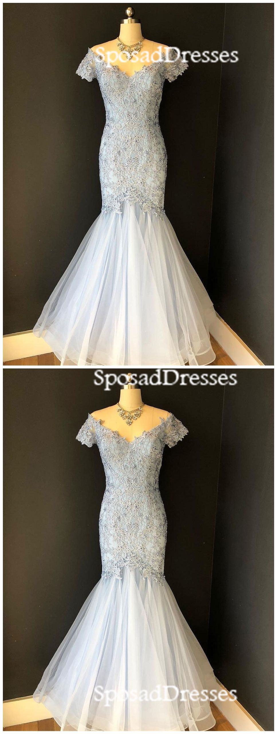 Pale blue off the shoulder short sleeve lace tulle floor length