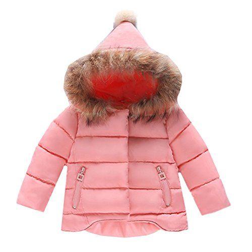 dac34a978 QINGYUAN Girl's Parka Faux Fur Collar Hooded Jackets   Teen Girls ...