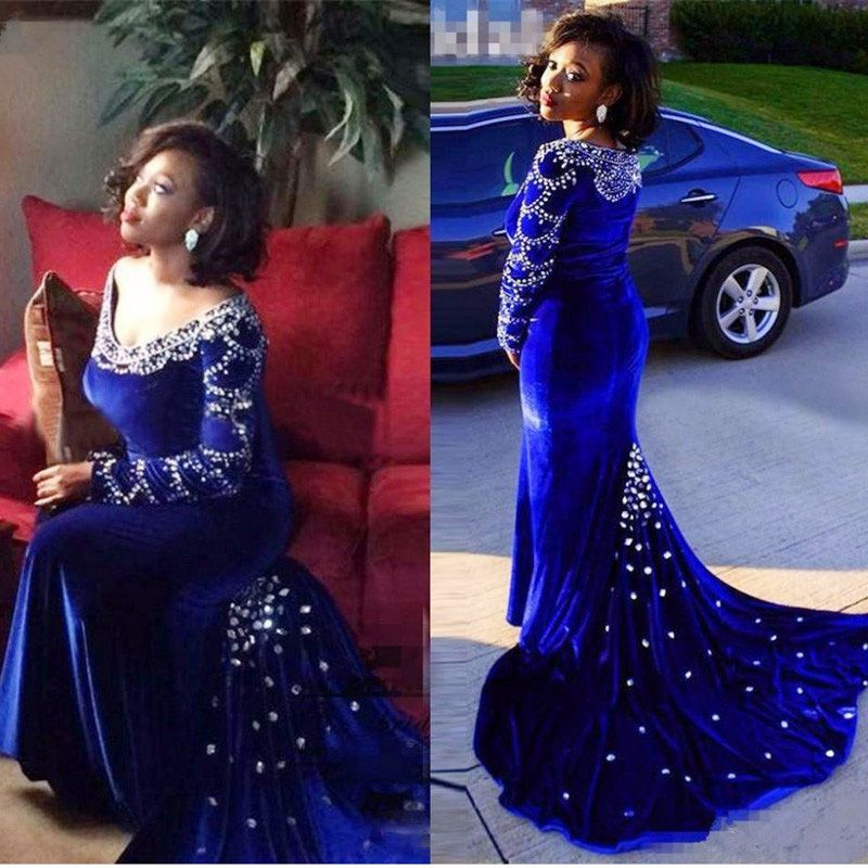 8e41f7a092 Royal Blue Caftan Evening Dresses mermaid velvet long dress with ...