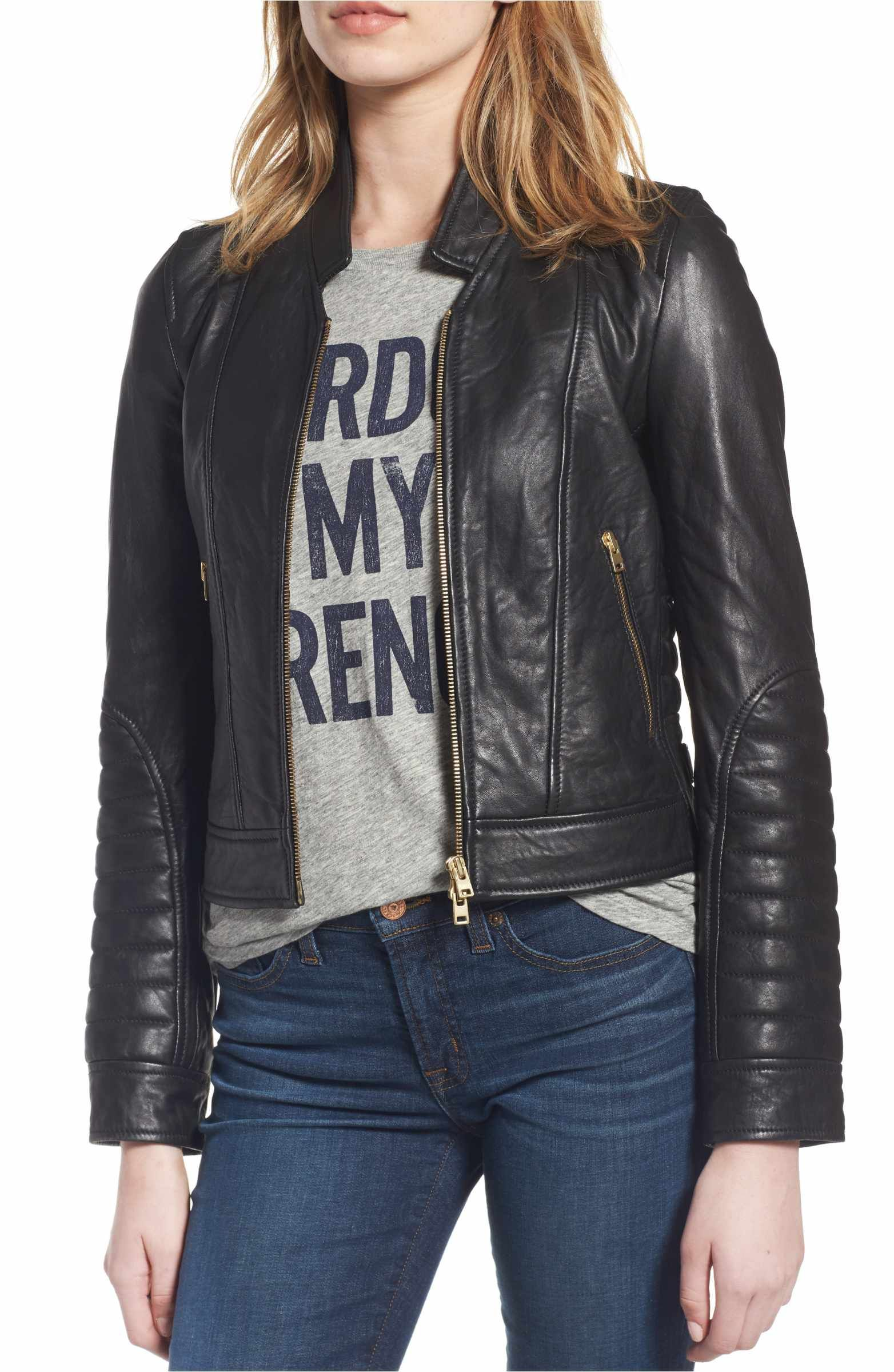 J.Crew Collection Stand Collar Leather Jacket Leather