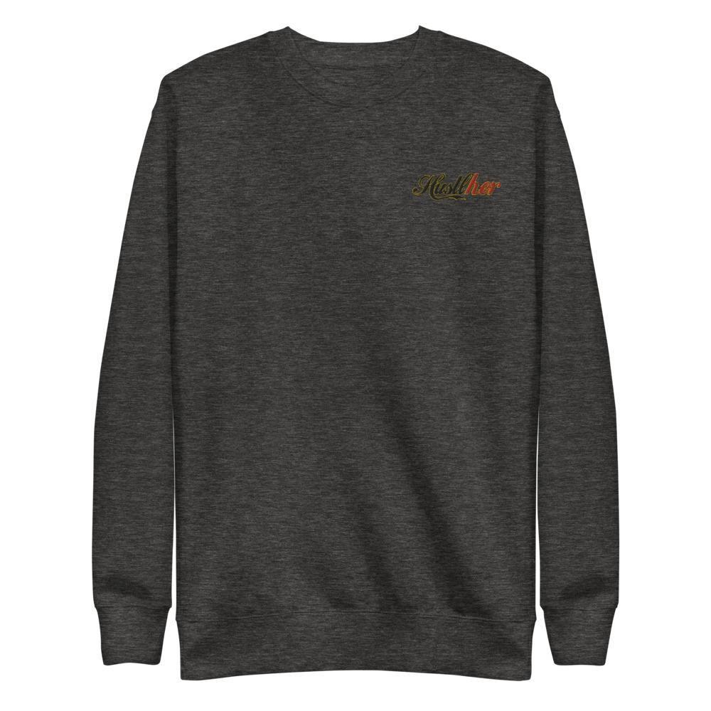 HustlHer Sweatshirt – Charcoal Heather / 2XL