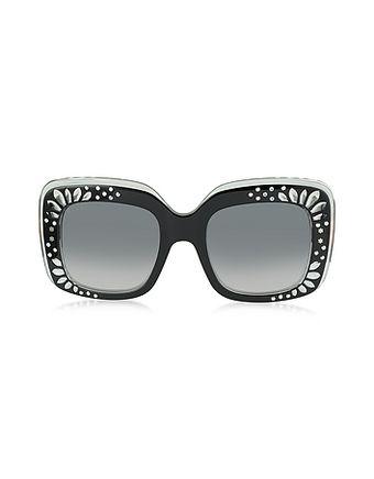 dd1817dd64c GG 3862 S YL1VK Black Acetate Oversized Square Frame Women s Sunglasses w Rhinestone  Details from FORZIERI Italia
