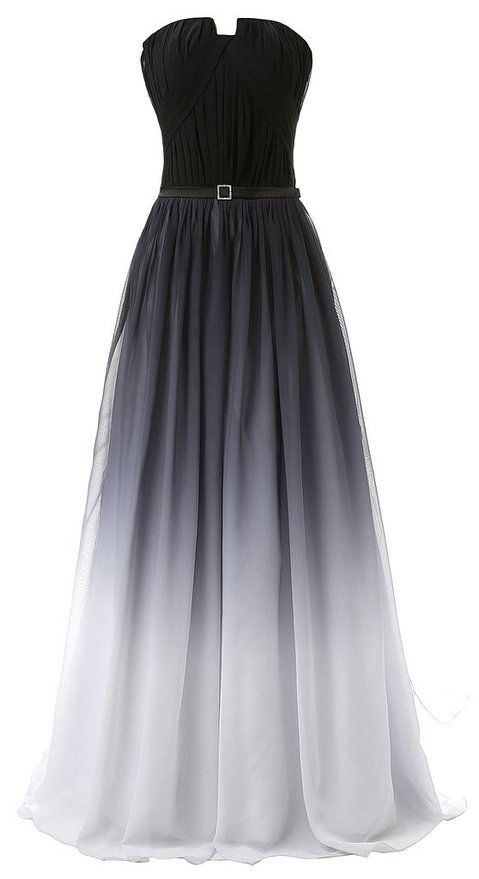 Eudolah New Gradient Colorful Sexy Ombre Chiffon Prom Dress Evening
