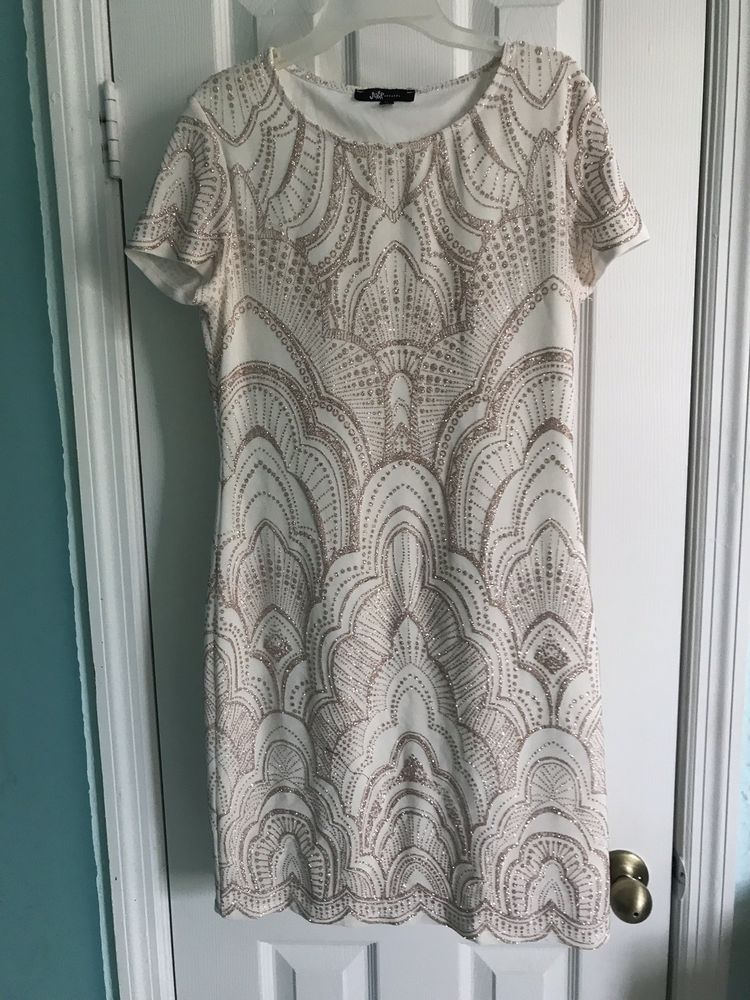 Jump Apparel White Rose Gold Womens Size M Gatsby Stretchy Bodycon
