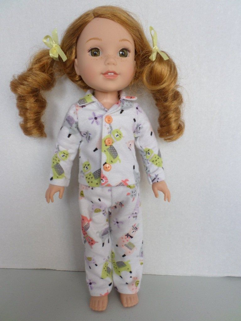 "14/"" Doll Clothes-fits American Girl Wellie Wishers-Pajamas-Flannel-Hearts"
