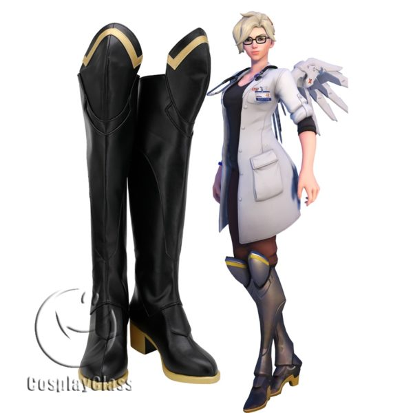 Overwatch OW Mercy Angela Ziegler Doctors Cosplay Boots