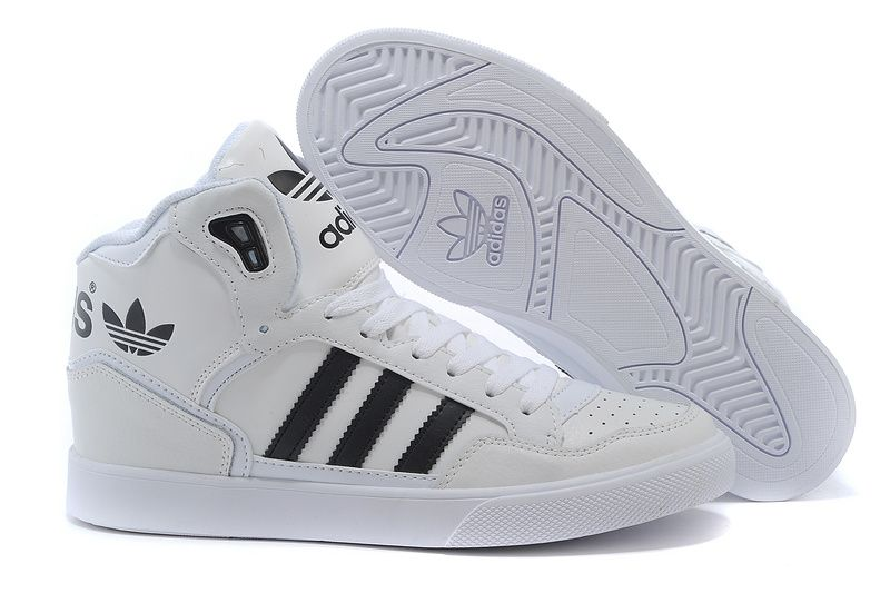 Men s Women s Adidas Originals Extaball High Top Leather Basketball Shoes  White Black M20864 2806f3b698
